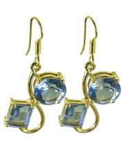 Blue Gold Plated Fashion exquisite Blue Topaz CZ usual Earring AU gift - $9.39
