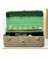 Vintage Union Metal Fishing Tackle Box + Hooks Sinker Scaling Knives Cas... - $48.61