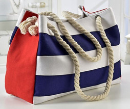 17.5 Nautical Look Tote Satchel Bag Rope Straps - Cotton & Polyester #469635 NEW