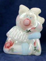 Fenton White Milk Glass Iridescent Art Clown Figurine Artist Signed D. F... - $38.61
