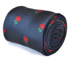 Navy Blue Mens Tie with Red Rose design by Frederick Thomas FT2105 RRP£19.99