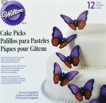 Wilton Purple and Pink Butterfly Cake Picks Package of 12 Party Birthday New - $8.01