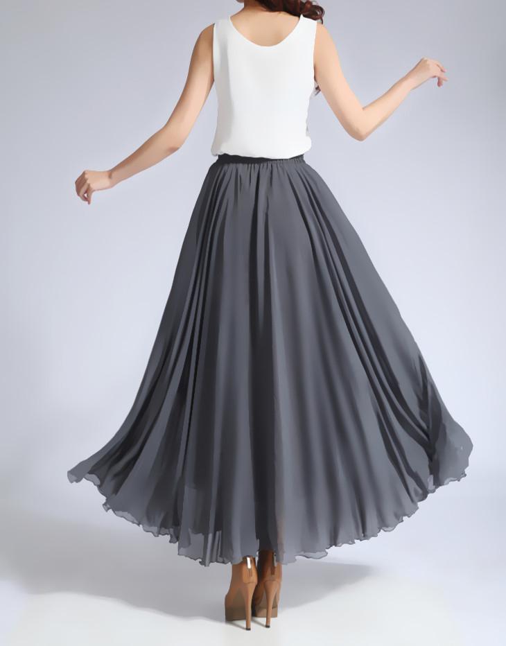 Chiffon skirt gray 5