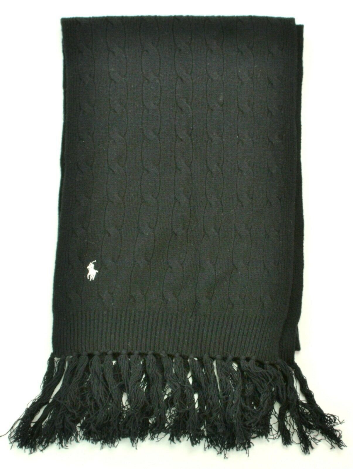 Ralph Lauren Scarf Black Lambs Wool Cashmere Blend Cable Knit Unisex - $101.03