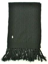 Ralph Lauren Scarf Black Lambs Wool Cashmere Blend Cable Knit Unisex - $101.03