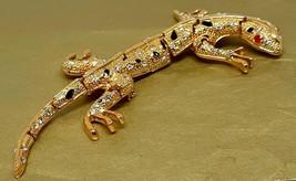 Vintage Lizard/Gecko pin/brooch goldtone/rhinestones - $68.00