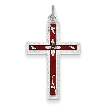 Primary image for Lex & Lu Sterling Silver Red Enameled Cross Pendant