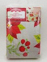 "Holiday Time Contempo Poinsettia Rectangle Vinyl Tablecloth 60"" x 102"" New - $12.46"