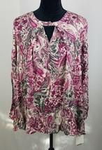Style&Co. women M purple long sleeve peasant blouse front key hole - $20.61