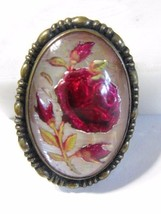 VINTAGE GLASS BUBBLE ENCASED PIN ROSE ON MOTHER... - $38.00
