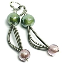 """PENDANT MULTI WIRES EARRINGS GREEN PURPLE SPHERES MURANO GLASS 2.6"""" ITALY MADE image 1"""