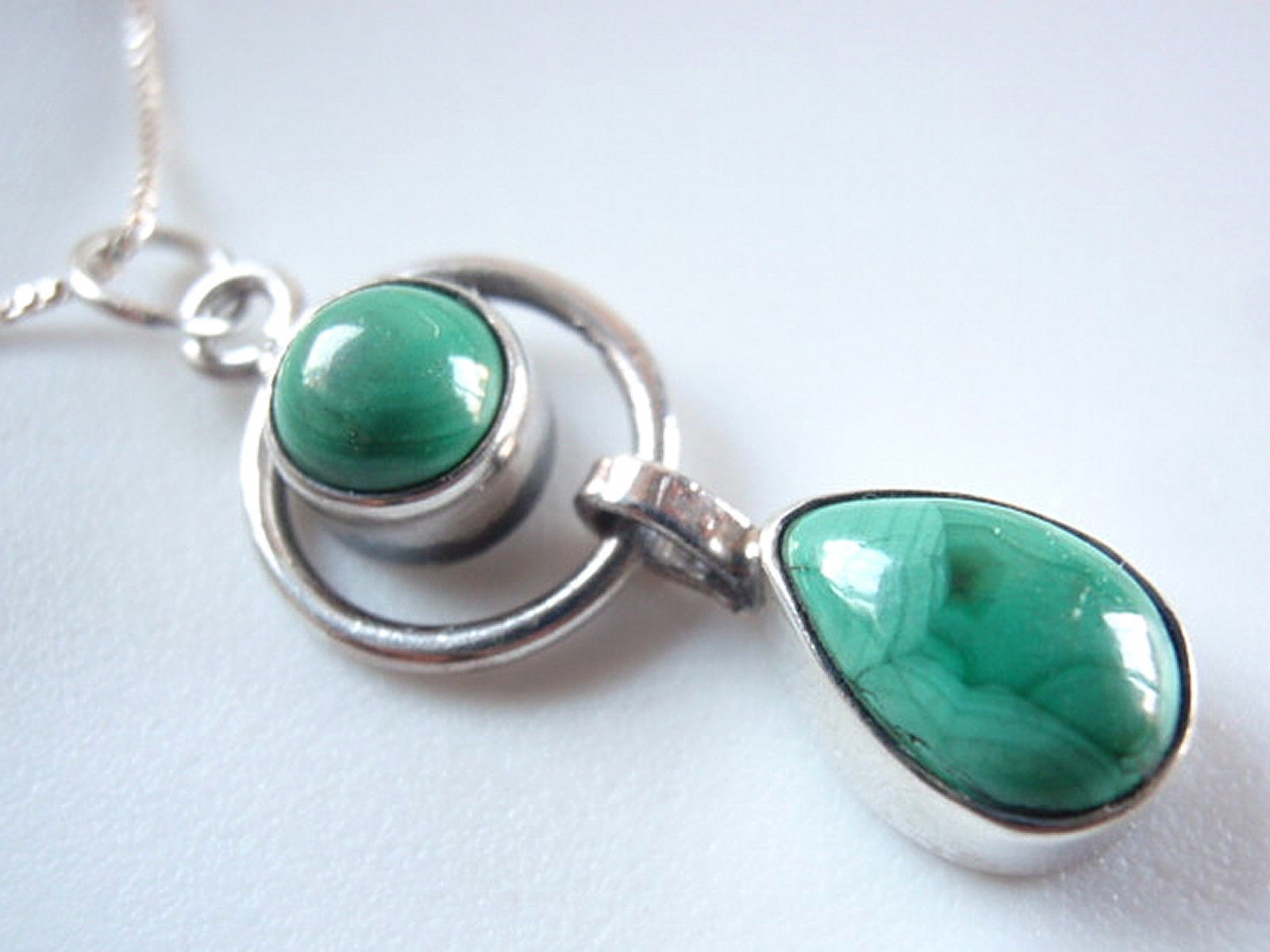 Primary image for New Malachite Teardrop Hoop 925 Sterling Silver Necklace India Double Gemstone
