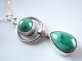New Malachite Teardrop Hoop 925 Sterling Silver Necklace India Double Gemstone - $29.65