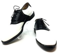 Mizuno Mens Golf Black/White Leather Saddle Oxfords Shoes 8.5M Vintage S... - $34.99