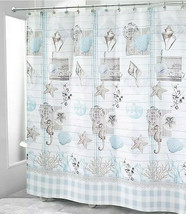 Avanti Farmhouse Shell Fabric Shower Curtain Shells Seahorse Beach Buffa... - $47.40