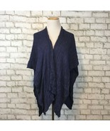 Hinge made in Seattle Women's One Size Blue Knit Shawl Wrap Sleeveless S... - $22.49