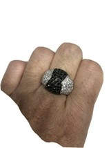 Vintage Black Onyx White Sapphire Ring 925 Sterling Silver Cocktail Size 7 - $133.65