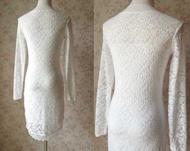 Ivory White Long Sleeve Lace Dress Sweet Heart Lace Formal MIDI Dress Wedding  image 6