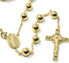 "18K YELLOW GOLD 27.5"" BIG ROSARY 6mm MIRACULOUS MEDAL SAINT BENEDICT JESUS CROSS image 3"