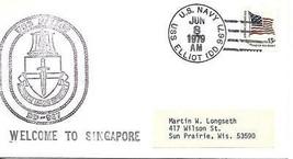 ELLIOTT (DD-967) 8 Jun 1979 Locy Type 2-1(n) (USS) Welcome to Singapore - $3.47