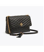 TORY BURCH KIRA CHEVRON FLAP SHOULDER BAG Black Authentic - $339.00