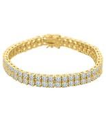 14K Amarillo Oro Sobre 15.50CT Simu. Diamante Doble Fila Hombres Tenis B... - $854.47