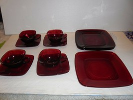 12 Piece Anchor Hocking Rpyal Ruby (red) Charm - Plates, Cups & Saucers - $29.69