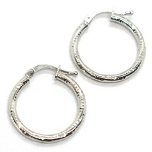 18K WHITE GOLD CIRCLE HOOPS TWISTED HAMMERED EARRINGS 20 MM, 1.5 MM THICK, ITALY image 1