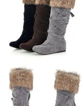 Women's Designer Style Warm Fur Lined Winter Fashion Boots image 3