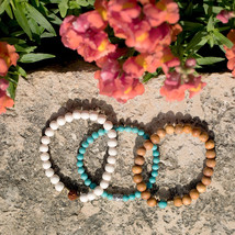 Blue Magnesite Fashion Stretch Bracelet - Wood Bead Fashion Stretch Bracelet - W - $27.00