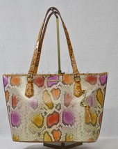 NWT Brahmin Medium Asher Leather Tote in  Dark Rum Sol - Python Embossed Leather - $275.00