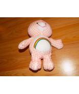 "10"" Cheer Bear Care Bear Plush Stuffed Animal Rainbow Pink White Checked 06 - $15.00"