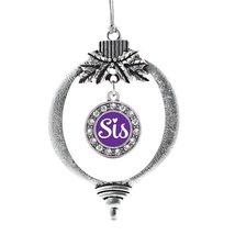 Inspired Silver Sis Purple Script Circle Holiday Christmas Tree Ornament With Cr - €12,80 EUR
