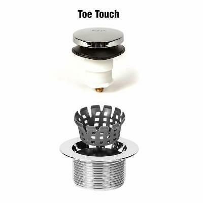 Bath Tub Drain Assembly Toe Touch Foot Operated Stopper Kit Brushed Nickel New image 4