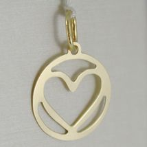 18K YELLOW GOLD HEART PENDANT CHARM 22 MM FINELY WORKED, BRIGHT, MADE IN ITALY image 3