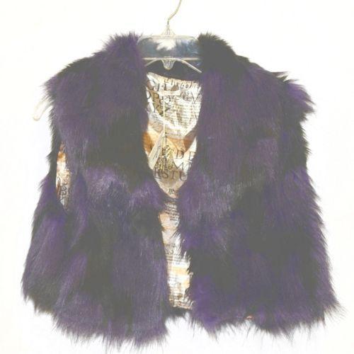 Riflessi Collection Premium Edition WFV11 Small Purple Black Faux Fur Vest