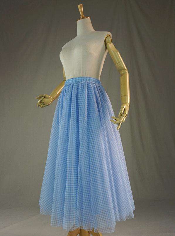 Tulle skirt blue plaid 4