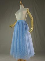 Light Blue Plaid Skirt Women High Waisted Long Plaid Skirt Tulle Skirt image 4