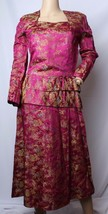 Vintage 15.2ms Soie Brillant Satin Asiatique Oriental Chinois Brocart Robe - $186.67