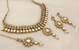 Indian Bollywood Style Fashion Gold Plated White Bridal Jewellery Necklace Set - $13.96