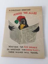 Vintage Unused 1950s Hallmark Christmas Card, Across the Miles, Pop-Up Crow - $5.00