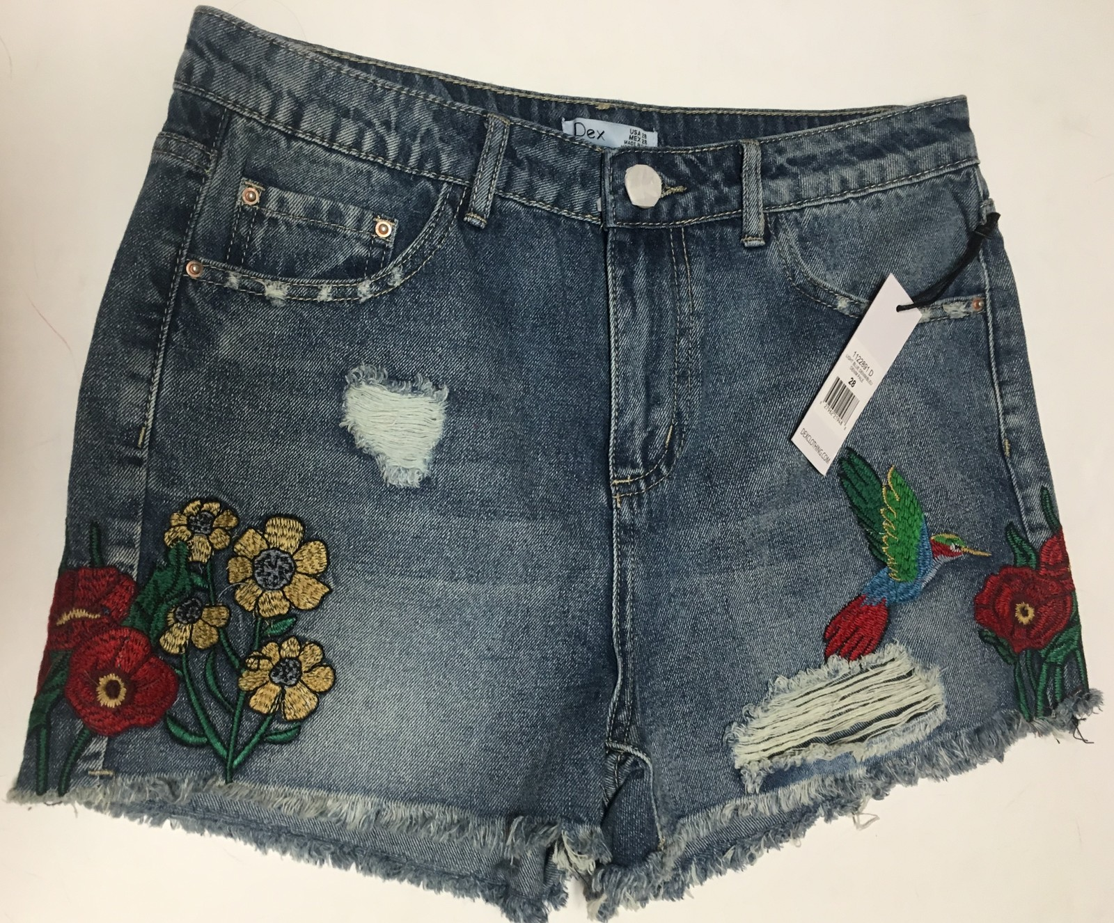 DEX Jean Shorts Embroidered Hummingbird Floral Distressed Sz 28 image 3