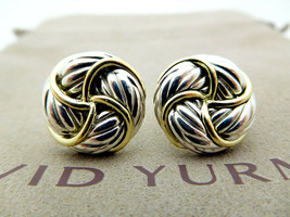 David Yurman Round Chevron Earrings in Sterling Silver & 18K Gold - $490.00