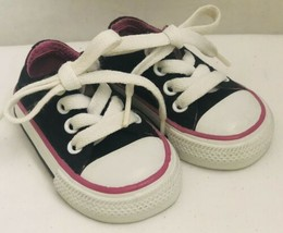 Converse All Star Infant Black/Pink/White Low Sneakers Size 2 - $13.99