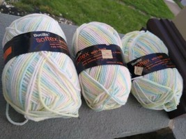 3 Skeins Bucilla Softex Win-knit 100% Orlon Acrylic Blue Yellow Pink White OMBRE - $14.99