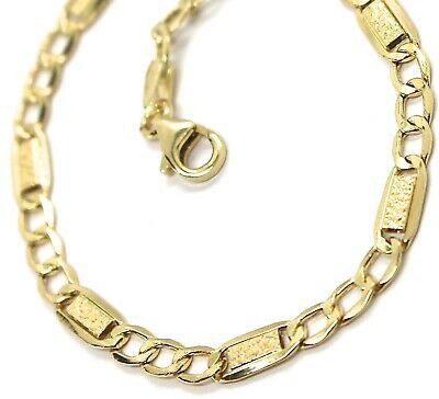 Armband Gelbgold 18K 750, Curb Chain Damen und Platten, Arbeiten Blasen, 4 MM image 4