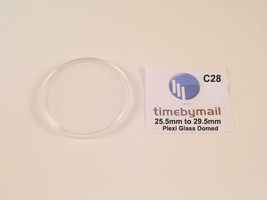 New Replacement Plastic Watch Crystal Domed Dome Plexi-Glass 25.5mm - 29... - $8.53
