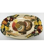 Beau Rivage Club Thanksgiving Turkey Platter Embossed Autumn Fall Fruit ... - $58.99