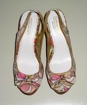 Coach Gwynnie Platform Sandals 7.5M Style F2370 Soho Print Pink White Lavender - $88.11