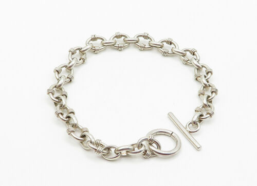 925 Sterling Silver - Vintage Shiny Wire Wrapped Detail Chain Bracelet - B6150 image 2
